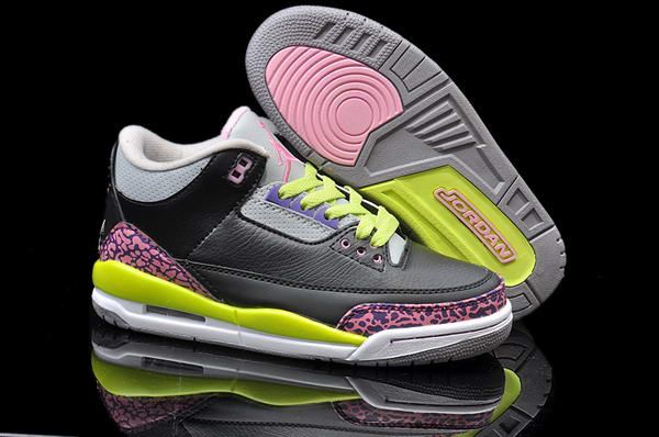 Air Jordan 3 III Retro Shoes black/pink Light green