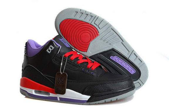 Air Jordan 3 Retro Transformers Shoes Black/fire red purple white