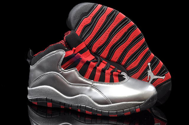 Air Jordan 10 Retro Shoes silver/red black