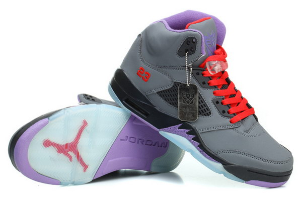 Jordan 5 Transformers Shoes Gray/red black