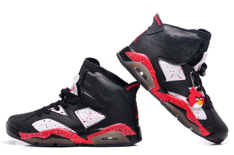 Air Jordan 6 Angry Birds Shoes black/red white