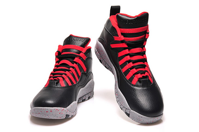 Air Jordan 10 Retro Shoes Black/red gray