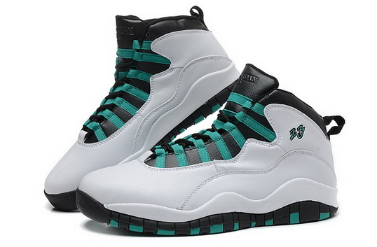 Air Jordan 10 Retro Shoes White/Green black