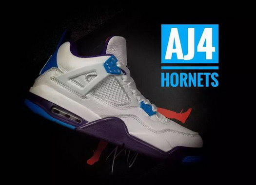 "Air Jordan 4 ""Hornets"" Shoes White/blue purple"
