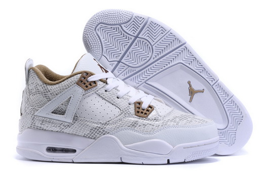 "Air Jordan 4 ""Snake"" Shoes White/gray gold"