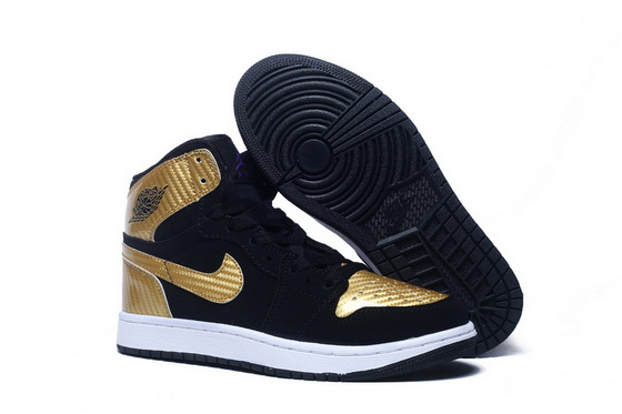 Air Jordan 1 I Retro Shoes Black/gold white