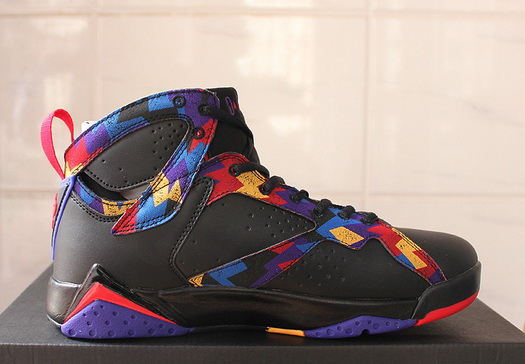 "Air Jordan 7 ""Black Sweater"" Shoes Black/blue red yellow"
