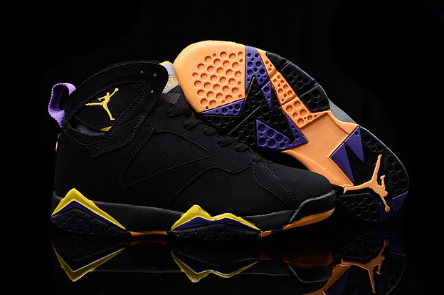Men's Air Jordan 7 Retro Shoes Black/yellow purple