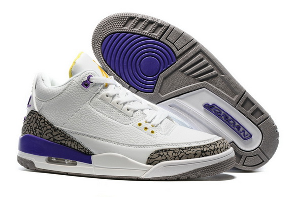 "Air Jordan 3 ""Kobe PE"" Shoes White/Court Purple Cement Grey University Gold"