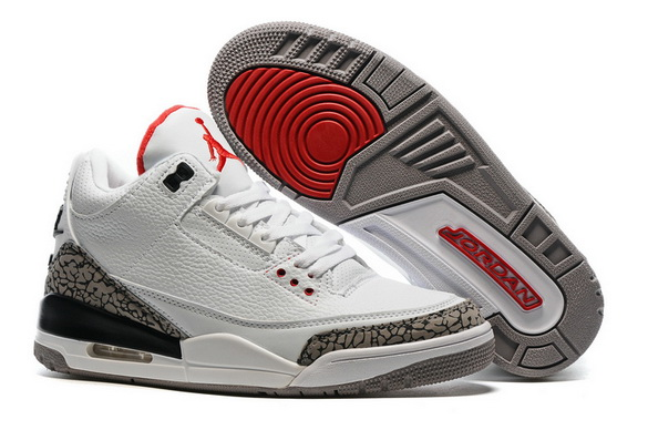 "Air Jordan 3 Retro ""Air Logo Tab"" Shoes White/Gray Cement Red"