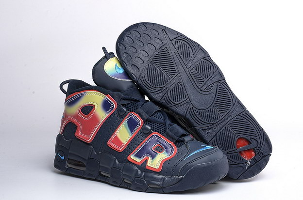 Air More Uptempo Shoes Fire red/dark blue black