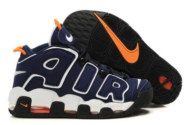 Air More Uptempo Shoes Dark Blue/white orange