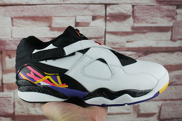 "Air Jordan 8 Low ""Three Peat"" Shoes White/Black Blue Infrared Yellow"