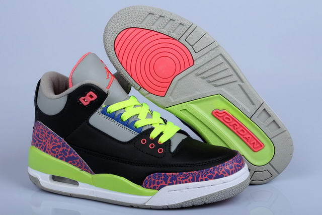 Womens Air Jordan 3 Shoes Black/Purple/Green