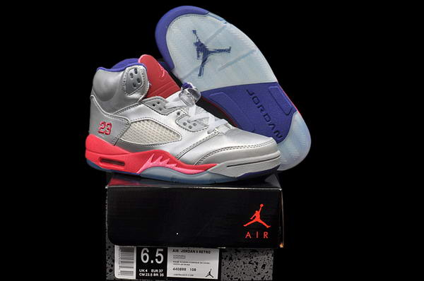 Air Jordan 5 Retro Women Shoes sliver/pink blue