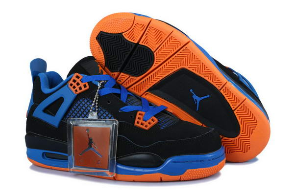 Air Jordan 4 Womens cavs Shoes blue/black orange