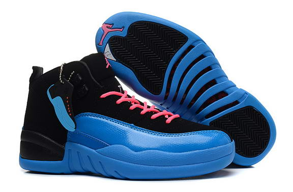 Air Jordan 12 Retro GS Womens Shoes Gamma Blue/black pink