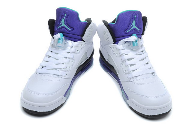 Air Jordan 5 For Womens Shoes White/blue
