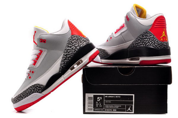 Jordan 3 For Womens Shoes Grey cement/red black