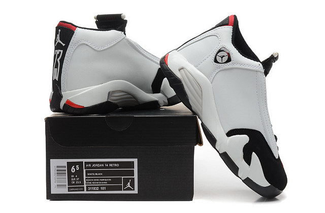 WMNS Air Jordan 14 Shoes Black Toe White/black red