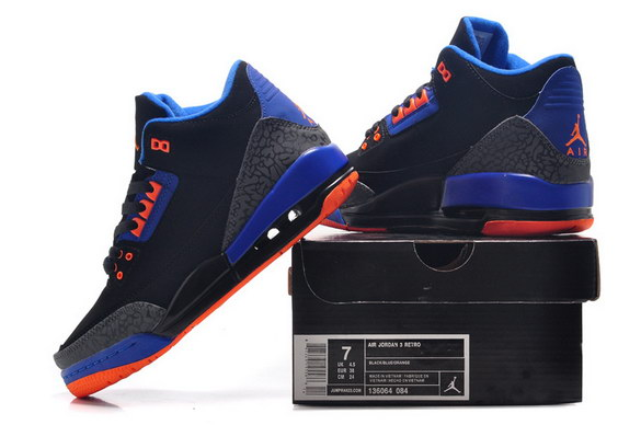 Womens Air Jordan 3 GS Shoes Black/blue orange