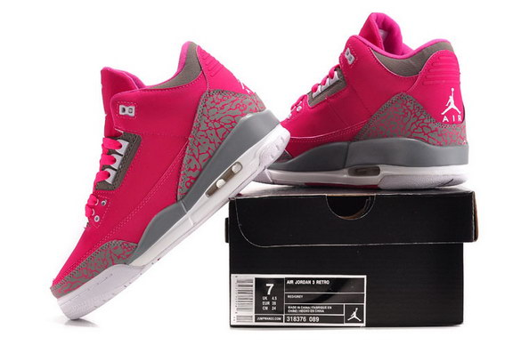 Womens Air Jordan 3 GS Shoes Red/gray white