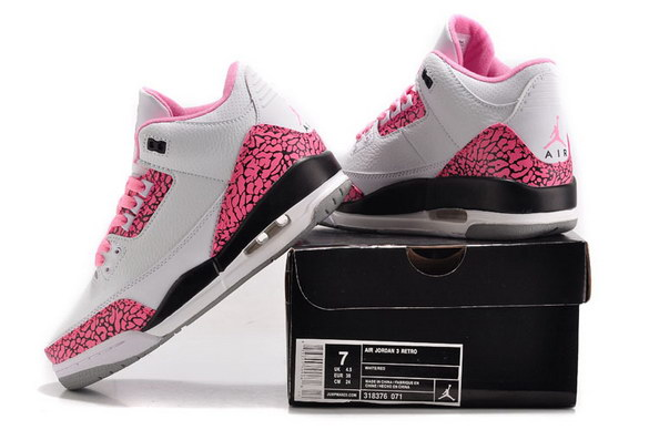 Womens Air Jordan 3 GS Shoes White/pink black