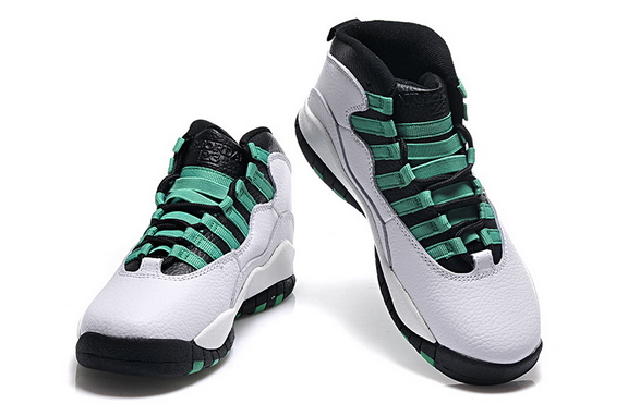 Womens Air Jordan 10 Shoes White/Green Black