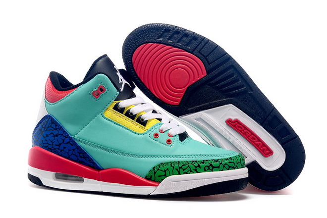 Womens Air Jordan 3 Shoes Green/blue red white