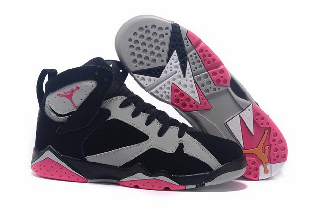 Air Jordan 7 GS sport fuchsia Shoes Black/grey pink