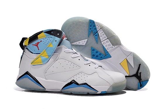 Air Jordan 7 Womens Shoes White/blue yello black