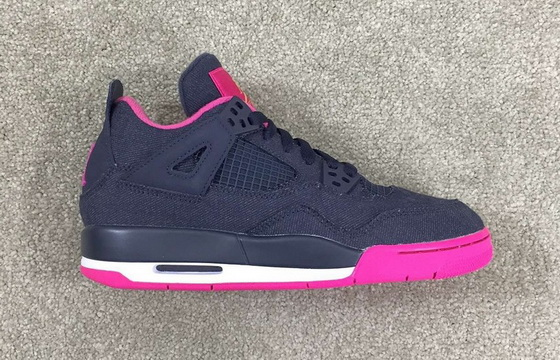 "Air Jordan 4 GS ""Denim"" Shoes Dark blue/pink black"