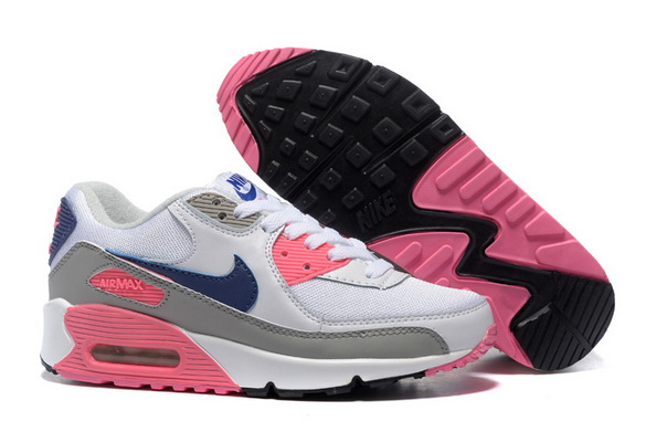 Women's Air Max 90 Shoes White/gray blue pink