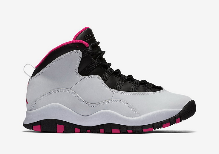 "Air Jordan 10 GS ""Vivid Pink"" Shoes White/Black"
