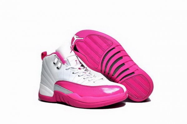"Air Jordan 12 GS ""Valentines Day"" Shoes White/pink silver"