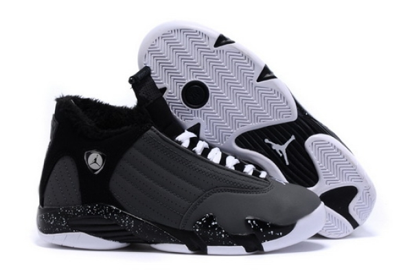 Women's Air Jordan 14 Winter Snow Shoes Dark grey/black white