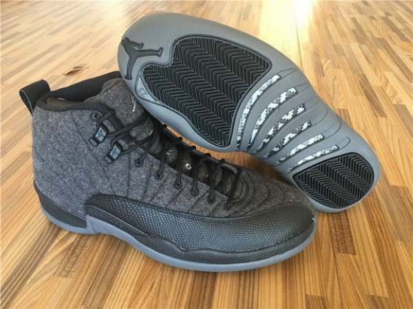 "Air Jordan 12 ""Wool"" Shoes Black/wolf grey"