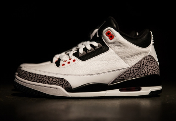 Air Jordan 3 (III) INFRARED 23 Shoes white/black red gray